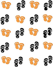 Orange & Black Flipflops Waterslide Nail Decals / Nail Art