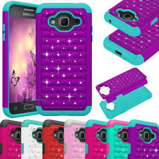 2 in 1 Hybrid Rugged Rubber Bling Matte Pink Cover Case For Samsung Galaxy J3 HQ