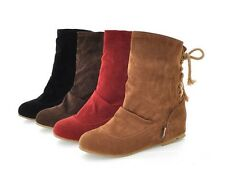 Womens Stylish Ladies Low Heel Boots Lace Up Mid Calf Shoes AU All Size B050