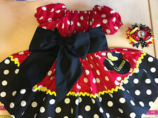 Minnie Mouse Applique DRESS NAME 12 18-24M 2T 3T 4 5 6 classic red blac princess