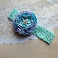 Starfish headband flower girl beach wedding photos mermaid rhinestone clip aqua