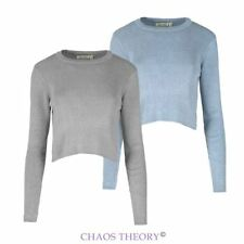 Womens Ladies Ribbed Knitted Crop Long Sleeve Rib Jumper Knit Top Pullover 10-16
