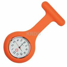 ORANGE Silicone Nurse Fob Watch Brooch Tunic Watch With A Free Battery SELLER