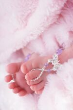 Baby & Girl's Swarovski Violet crystals Butterfly Barefoot Sandals handcrafted