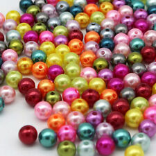 Wholesale Lot Glass Mix color Pearl Round Spacer Loose Beads 4mm/6mm/8mm/10mm