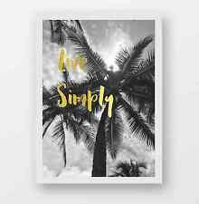 REAL large gold foil print, Live simply quote, palm tree photography leaves art