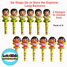 DORA THE EXPLORER OR GO DIEGO GO PARTY LONG BALLOONS LOOT BAG FILLERS- PACK OF 6