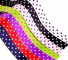 BUY 3 GET 1 FREE 10mm Spotty POLKA DOT GROSGRAIN Ribbon Different Colors 5 Mtrs