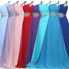 Crystals One-Shoulder Chiffon Long Formal Evening Prom Ball Party Ceremony Dress