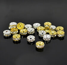 Wholesale 100Pcs Crystal Silver/Gold Plated Rondelle Spacer Beads 6mm 8mm