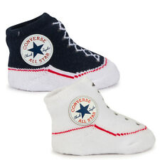 Baby Converse Chuck Taylor White and Navy Knit Sock Booties
