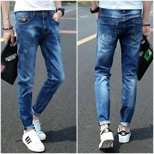 Fashion Korean Men Straight Slim Fit Pants Denim Jeans Casual Trousers Skinny