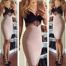 Sexy Women Two piece Bodycon Dress Bandage Cocktail Short Lace Skirt Parey Dress