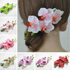 Women Butterfly Orchid Flower Hair Clip Barrette Pin Bridal Wedding Prom Party