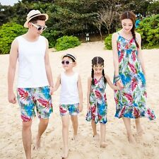 Summer Family clothes Bohemia Women girl chiffon dresses men Boy Vest pants sets