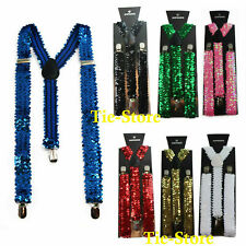SEQUIN SUSPENDERS Mens Womens Adjustable Costume Fancy Dress Dance Braces Y-back