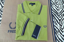 FRED PERRY Polo Shirt M3600 TWIN TIPPED L/Green SLIM FIT Pique Top BNWT RRP£65