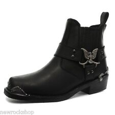GRINDERS New Eagle Low Cowboy Biker Black Leather Boots Western Motorbike Unisex
