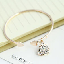 Fashion Gold Silver Love Heart Rhinestone Pendant Open Bangle Bracelet Girl Gift