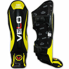 VELO Gel Junior Shin Instep Foot Pads MMA Leg Kick Guards Kids Muay Thai Boxing
