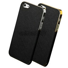 for iPhone 5 5s 5G Frame Luxury PU Leather Chrome Hard Back Case Cover new