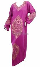 Egyptian Cotton Arabic Calligraphy Galabeya Abaya Islamic Purple Jilbab Kaftan