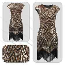 1920s Flapper Dress Great Gatsby Charleston Sequin Beads Fringe Party Dress 6-18