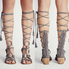 Womens Suede Leather Gladiator Knee High Sandal Boots Mid Wedge Summer Shoes