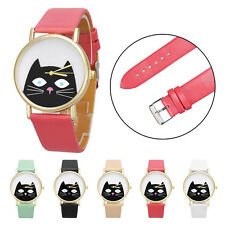 Women's Round Case With Cat Pattern Leather Band Analog Quartz Dial Wrist Watch