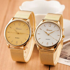 Hot Fashion Womens Watch Classic Gold Geneva Quartz Stainless Steel Wrist Watch