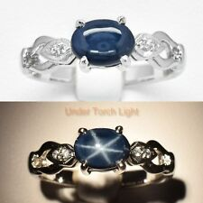 8x6mm Natural 6 Ray Deep Blue Star-Sapphire Ring in 925 Silver