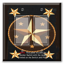 Light Switch Plate Cover Texas Star Brown w/ Rocker Switch  Outlet