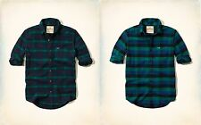 NWT Hollister by Abercrombie Navy Green Plaid Lumberjack Flannel Shirt FREE SHIP