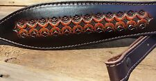 Leather Rifle Sling -British Tan Hand Tooled Diamond Fire Design