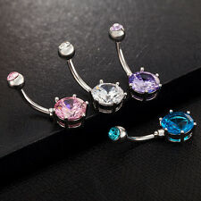 NEWEST Crystal Gem Belly Ring Button Bar Body Piercing Surgical Steel Navel Ring