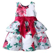 Girls Floral Print Layered Party Dress Kids Sleeveless Red Bow Princess Dresses