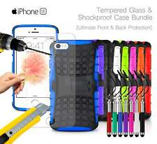 Apple iPhone SE - Shockproof Grip Case Cover, Ret Pen & Tempered GLASS