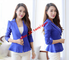 2016 Womens Slim Fit Falbala Waistcoat OL Work Suits Blazer Candy Color Jacket