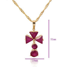 31mm 14k yellow gold filled Red Ruby & Crystal Pendant March Long Chain Necklace
