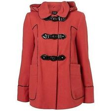 Ex Topshop Duffle Coat Red Winter Jacket Military Style Womens Size 8 10 *SALE*