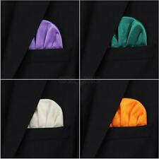 Mens Silk Satin Pocket Square Hankerchief Hanky Cute Dot Soild for Wedding Party