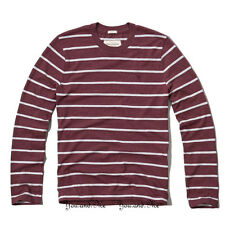 NEW ABERCROMBIE & FITCH for MEN A&F Panther Gorge L/S Tee Burgundy Stripe M-XXL
