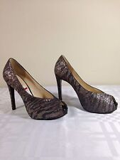 New Guess Hytner2 Open Toe High Heel Pump 8 and 9  M Bronze Multi Fabric NIB