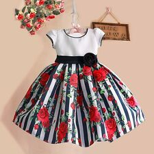 Girls Dress Striped Rose Flower Print Party Pageant Birthday Kids Clothes SZ 1-5