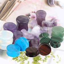 1 Pair Organic Semi Precious Stone Double Flare Saddle Ear Plug Tunnel Expander