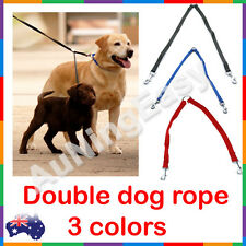 Double Dog Leash lead 2 dogs one lead black blue nylon walk pet harness
