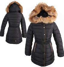 WOMEN QUILTED LONG WINTER COAT FAUX FUR NAVY PADDED JACKET PARKA P1656