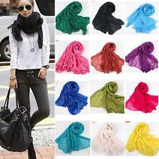 Women Pashmina Scarf Soft Wrap Shawl Scarf Long Stole Crinkle Candy Colors