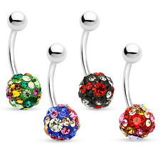 14ga CZ Gem Paved Ferido Ball - 316L Surgical Steel - Belly Button Rings