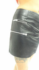 Womens Ladies PU Black Synthetic Leather Silver Zip Detail Party Skirt 8 10 12